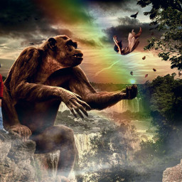 freetoedit gorilla orangutan pemandangan manipulasipicsart