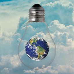 earthday lightbulb earth freetoedit