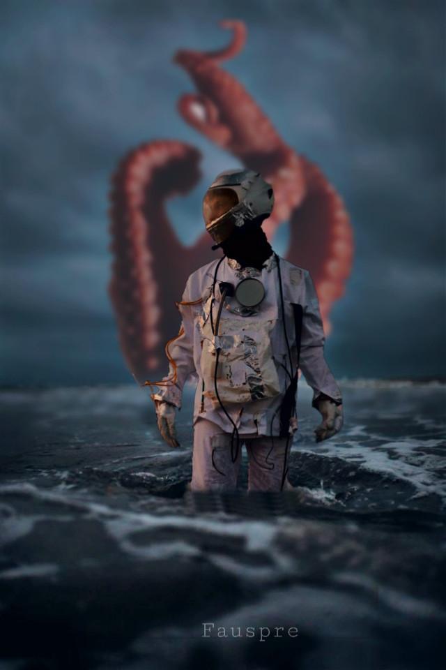 Danger at sea... #octopus    #astronaut  #sea  #surreal  #myedit  #madewithpicsart