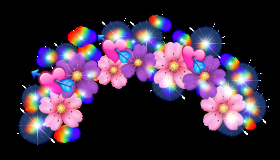 #flower #crown #emoji #pink #purple #flowercrown #sparkles #rainbow