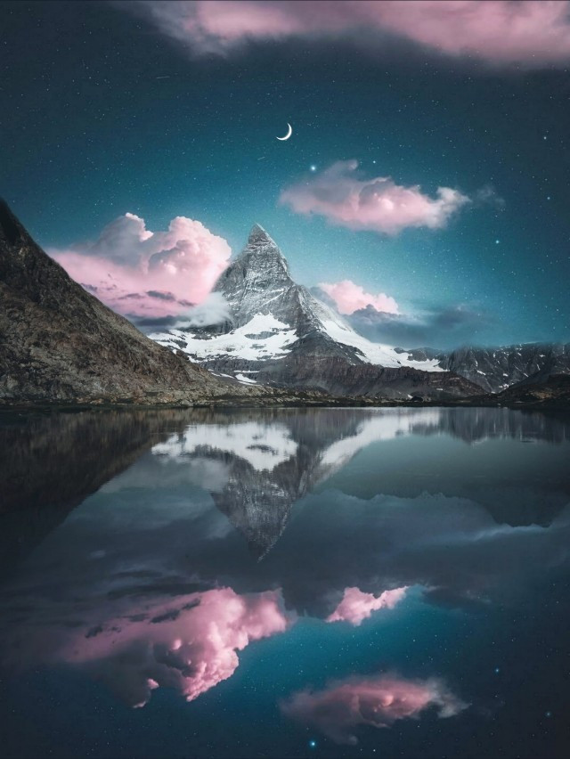 This aesthetic nature remix is brought to you by  @maruee_mj 🌝🌅☁️🌊#freetoedit #nature #mountains #surreal #mirror