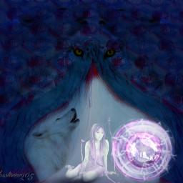 freetoedit wolf wolfhowling orb mesmerized