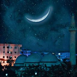 freetoedit ramadan moon sky mosque