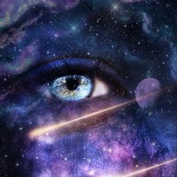 sterne galaxy fantasy landschaft auge freetoedit