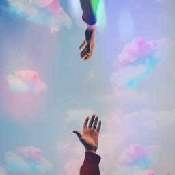 hands pastel sky freetoedit