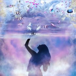 freetoedit dreamscape sealife fantasyart fantasy ircsunsetsilhouette sunsetsilhouette