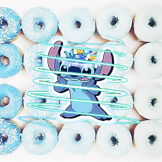 #freetoedit Two of my fav things put together, Stitch and blue doughnuts!!