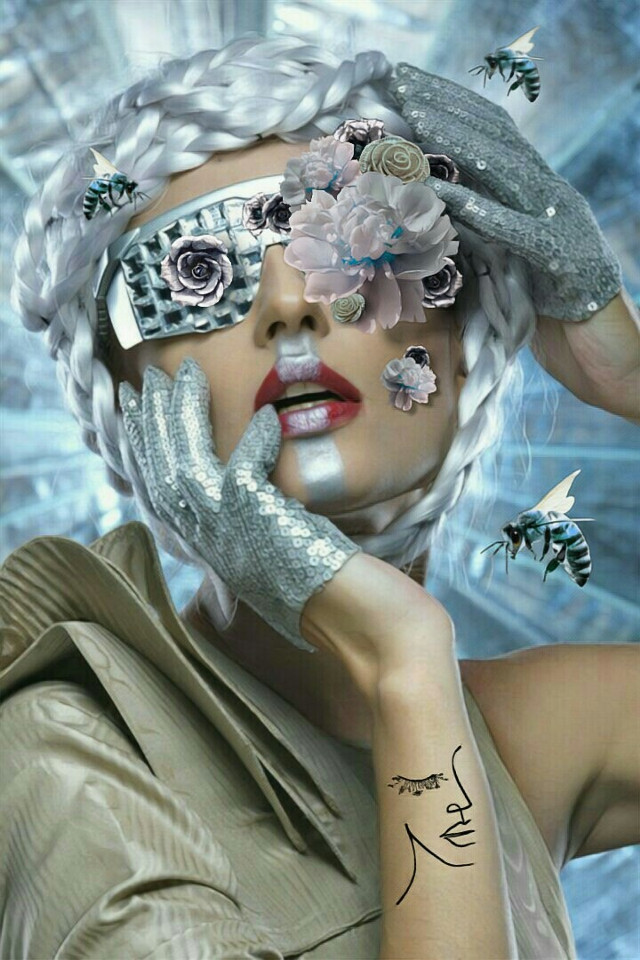 Flowers from the Future #freetoedit #flowereyes #flowers #roses #woman #beautiful #silverhair #plaits #futuristic #metallic #metal #bees #gloves #sequins #silver #imagination #myimagination #stayinspired #madewithpicsart