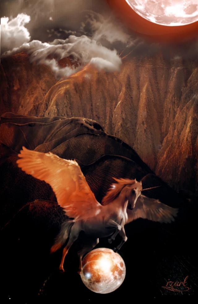 #freetoedit #madewithpicsart #art #moon #unicorn