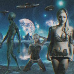 freetoedit alien alienart ufo galaxy