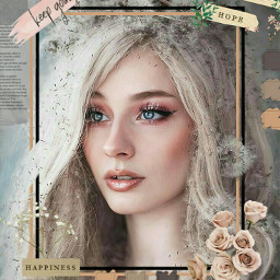 freetoedit flowerframe frame newspaper woman
