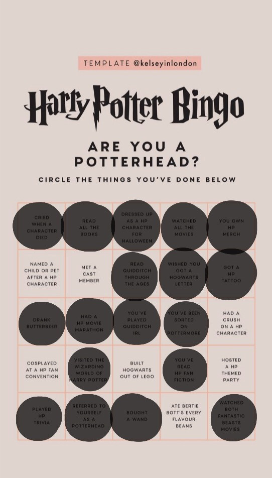 #freetoedit #hp #harrypotter #bingo #potterhead