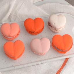 aesthetic cookie orange macaroons hearts
