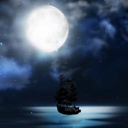 nightlife ship night water darknight freetoedit