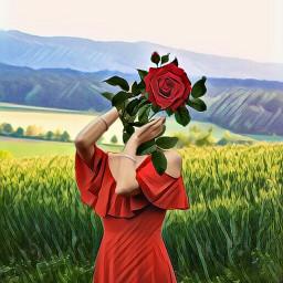 freetoedit flowerhead rose red reddress