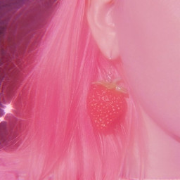 strawberry pink hair earring aesthetic freetoedit