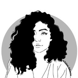 freetoedit curlyhair girl smile blackandwhite