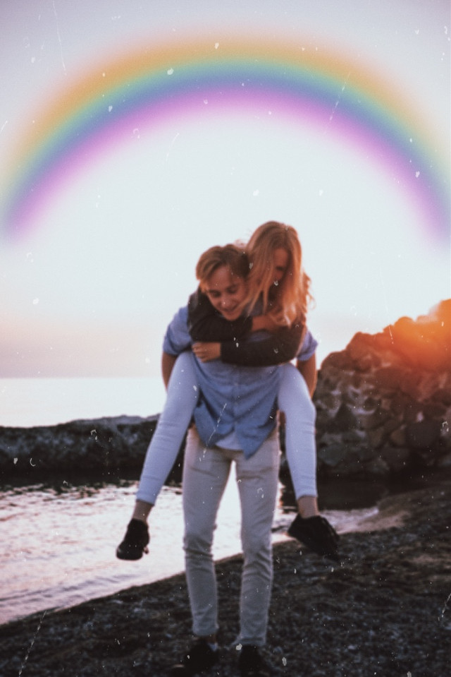 #freetoedit #rainbow #aesthetic #couple #love #paper