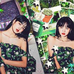 lisa blackpink green kpop aesthetic