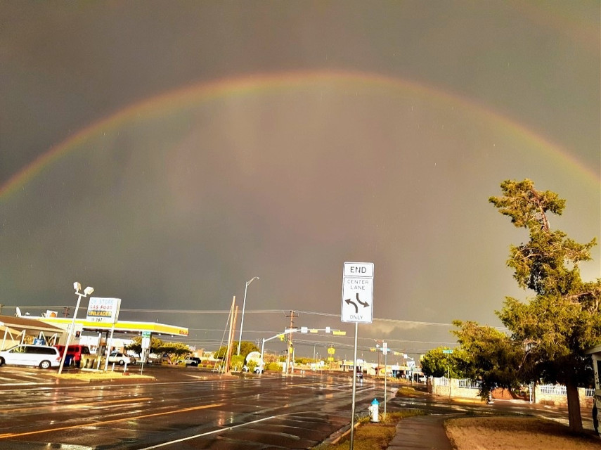 🌠#citystreet #rainyday #sunshine #eveningsky #rainbow #myhometown #elpasotx #mypic #freetoedit