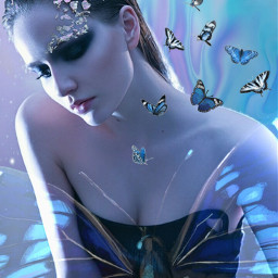 freetoedit holographicbutterflies holographic woman beautiful