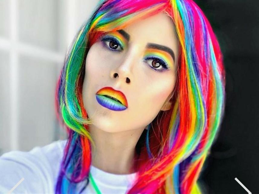 #lipstick #eyelash #fun #selfie #🏳️🌈 #rainbow #rainbowmakeup #pride  #gaypride #colorful #makeup #hair @aliciacoleman9