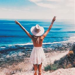 beach waves beachday girl freetoedit