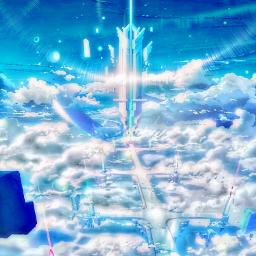 freetoedit madewithpicsart city floating sky scifi