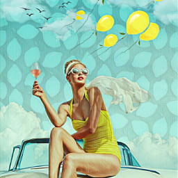 freetoedit freshlemons lemons balloons yellow woman pretty bluesky clouds summer bathingsuit sunglasses scarf wine car imagination myimagination create stayinspired madewithpicsart