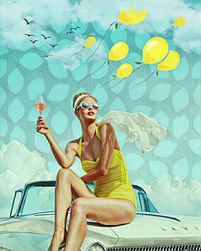 L E M🍋N  S K Y #freetoedit #freshlemons #lemons #balloons #yellow #woman #pretty #bluesky #clouds #summer #bathingsuit #sunglasses #scarf #wine #car #imagination #myimagination #create #stayinspired #madewithpicsart
