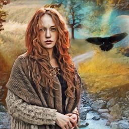 freetoedit woman path fantasy nature fall autumn