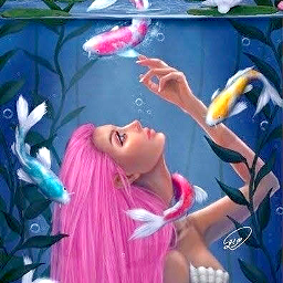 poster mermaid fish water pond kohli animalhumanhybrid art beauty scenic freetoedit stickers posters holla profile