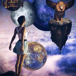 freetoedit lion surrealism island clouds woman moon planet night rocks sky