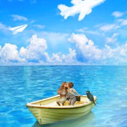 freetoedit sea beach boat children kissing cute clouddoodles prism prismeffect prismlights maskeffects masklight watercoloreffect becreative makeawsome myedit madewithpicsart