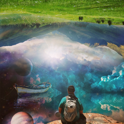 freetoedit surreal upsidedownworld galaxy fantasy planets myimagination mountains clouds sky water boat