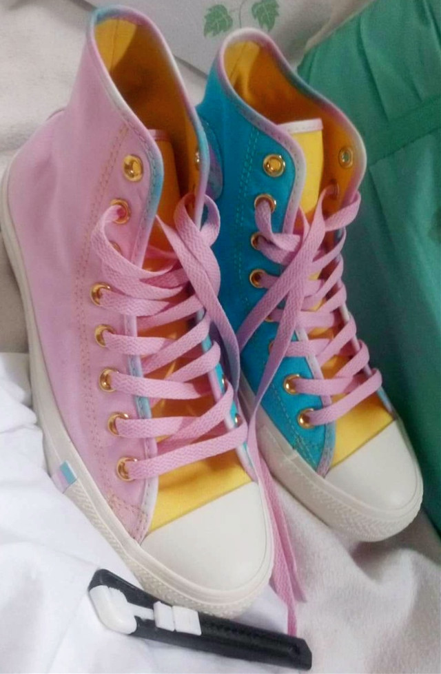 Sometimes I forget I own these but then I remember and it's a lovely little reminder of why it's a Bad Idea to let me customize Pride Gear because it will, without doubt, always turn into a retro bubblegum pop look.   #bubblegumpop #bubblegumcore #pride #pridecore #retrobubblegumpop #pansexual #panromantic #transgender #shoes #converse #me