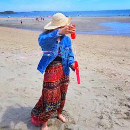 summer beach aesthetic sun sunny cornwall england girl colourful freetoedit