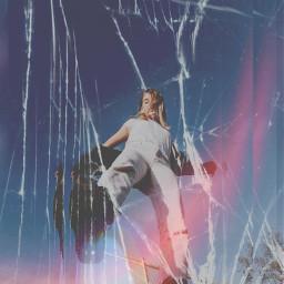 freetoedit girl broken brokenglass woman vintage aesthetic 80s 90s fotoedit remix replay