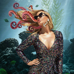 freetoedit underwater ocean water fish reef woman goddess longhair octopustentacles octopus seagrass bubbles jewellery anchor imagination myimagination stayinspired create madewithpicsart
