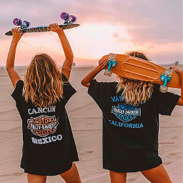 freetoedit summer vibes friends bff bsf beach skatergirl pennyboard skateboard girls fyp xialuna