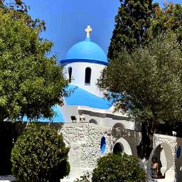 church faith blue white countryside