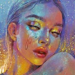 freetoedit holographic goldenhour glitter girl echolographicslime