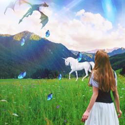 freetoedit fantasy fantasyland fantasyanimals unicorn dragon