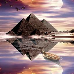 freetoedit desert pyramid sunset moon boat water rcwatermirror watermirror