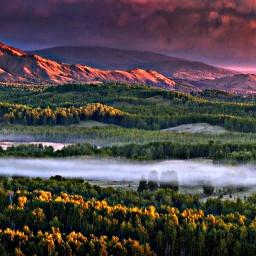 nature beautiful sunset mountains forest fhotoshop filter природа красиво закат горы лес фотошоп фильтр