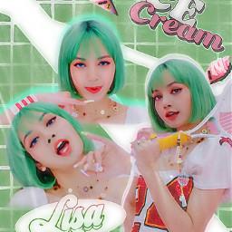 icecream lisablackpink green lalisa freetoedit lisa blackpink
