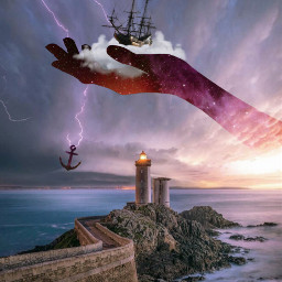 freetoedit galaxyhand hand storm stormclouds ship lightning lightningbolt anchor ocean seashore lighthouse path imagination myimagination stayinspired create creativity surreal madewithpicsart