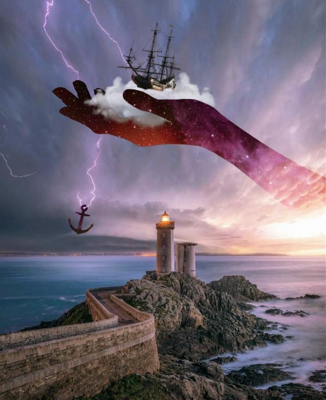 A Safe Haven #freetoedit #galaxyhand #hand #storm #stormclouds #ship #lightning #lightningbolt #anchor #ocean #seashore #lighthouse #path #imagination #myimagination #stayinspired #create #creativity #surreal #madewithpicsart