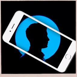 freetoedit silhouette handy phone blackbluewhite bluecircle