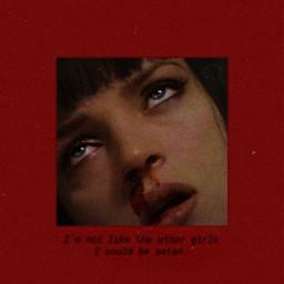 freetoedit remixit plzfollow freewallpaper red satan notlikeothergirls wallcollage aesthetic beautiful girl vintage lips blood